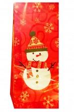Sacchetti per regali di Natale in nylon con pupazzi e fiocchi di neve