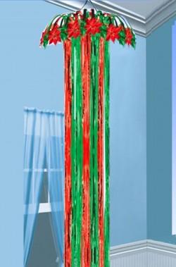 Decorazione natalizia festone con alberi babbi e renne di natale