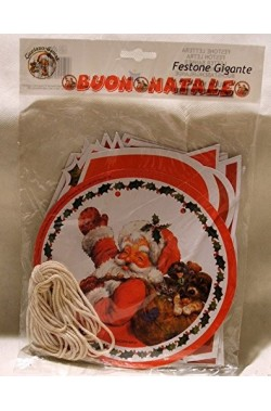 Decorazione natalizia con babbi natale, pupazzi e fiocchi di neve