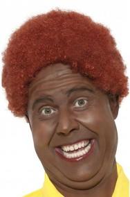 Parrucca afro clown anni 70 riccia marrone castana