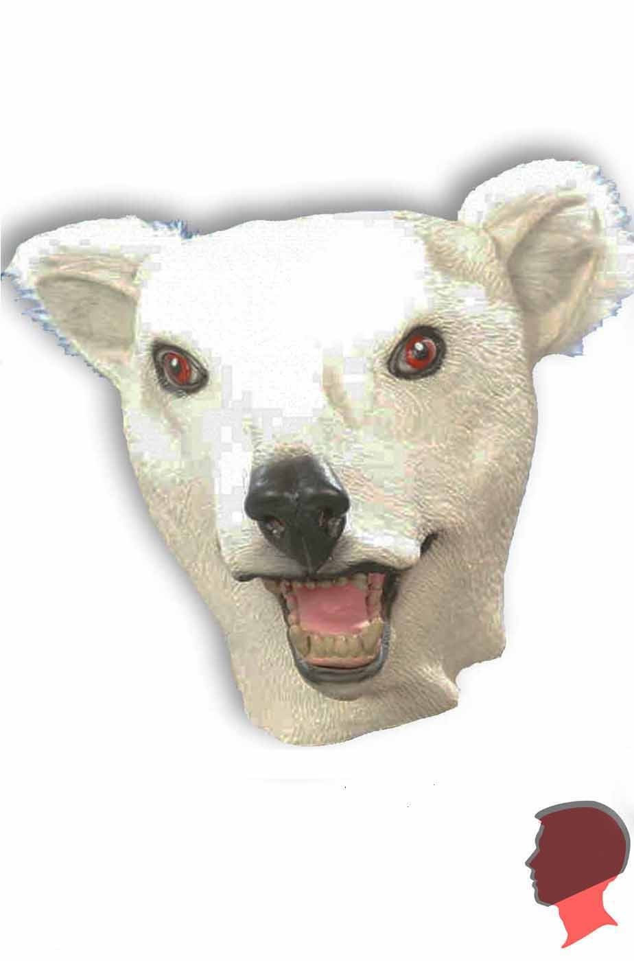 Maschera da orso bianco testa intera in lattice
