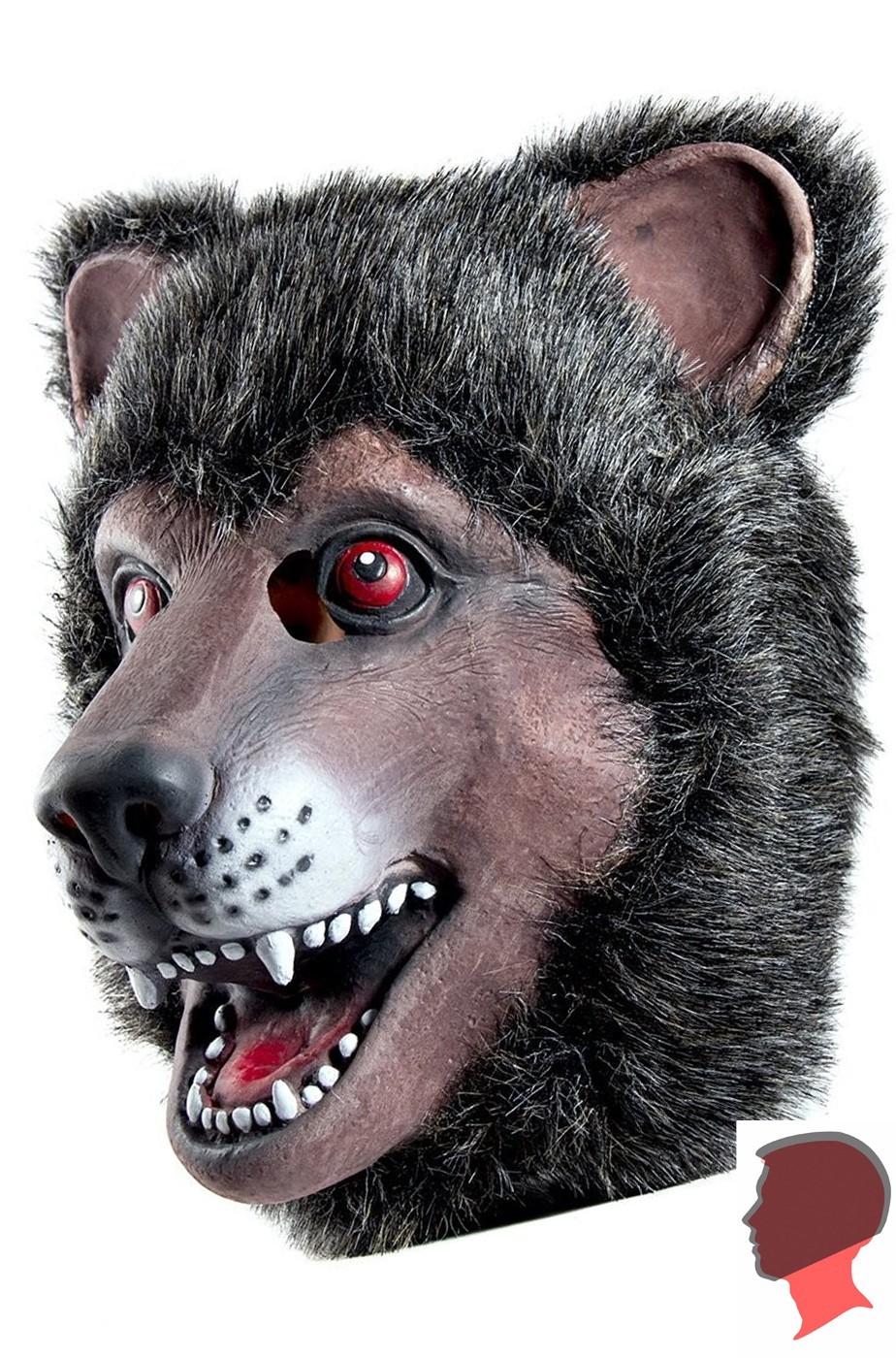 Maschera da orso bruno testa intera in lattice