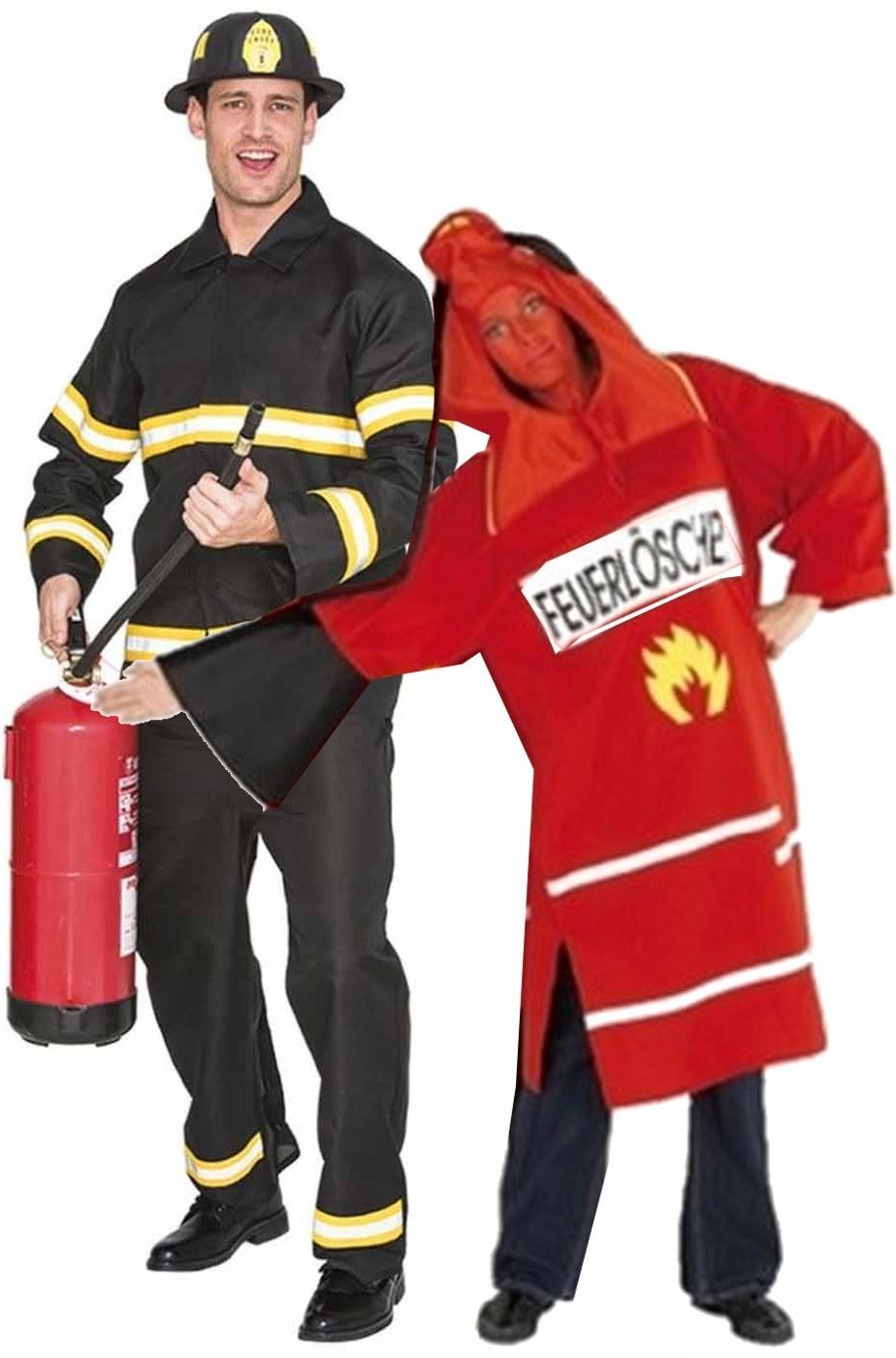 Coppia di vestiti di Carnevale adulti spiritosi Pompiere ed Estintore 23f306a7ca3c