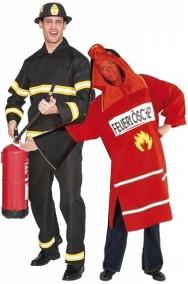 Coppia di costumi adulto da pompiere ed estintore