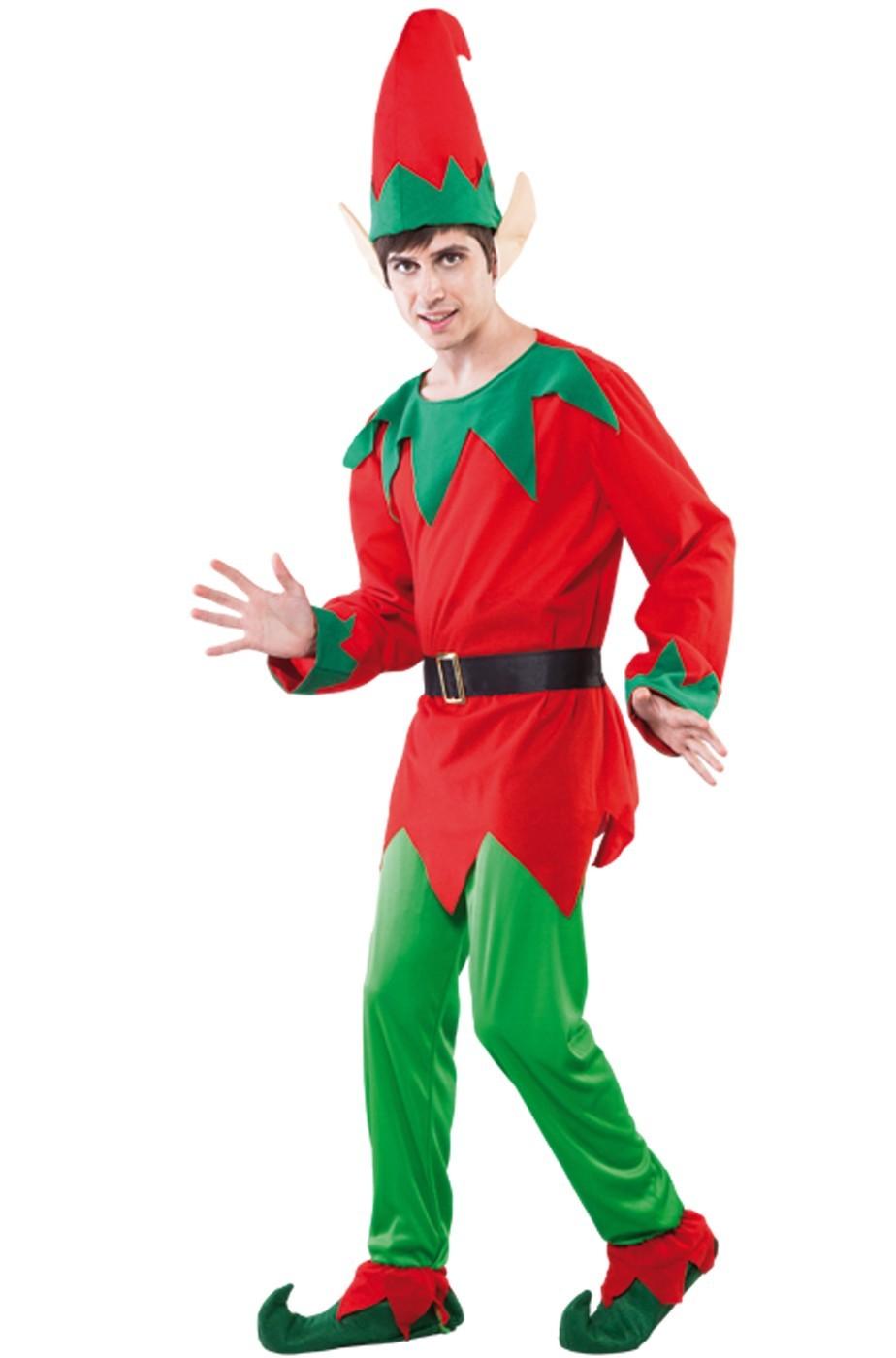 d73f8c5859b6 Costume Elfo o folletto di Babbo Natale adulto rosso e verde COMPLETO
