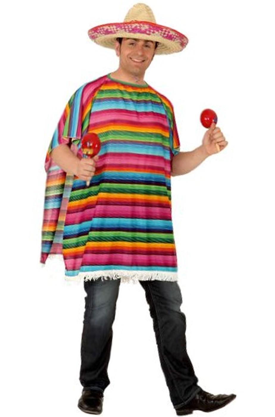 Poncho da messicano adulto per festa messicana grande in taglia XL e45793201dc9