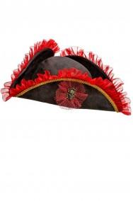 Cappello da pirata cavaliere del 700 a tricorno nero con bordature rosse
