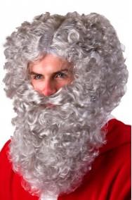 Set barba baffo e Parrucca grigio riccio