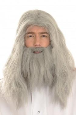 Parrucca e barba Grigia Mago Gandalf o Merlino