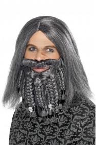 Set parrucca uomo grigia lunga pirata lusso con baffo e barba