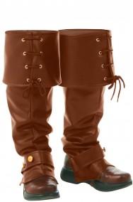 Copristivale da pirata o steampunk con risvolto e stringhe marrone