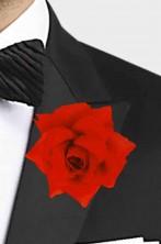 Rosa rossa finta fiore all'occhiello 10cm