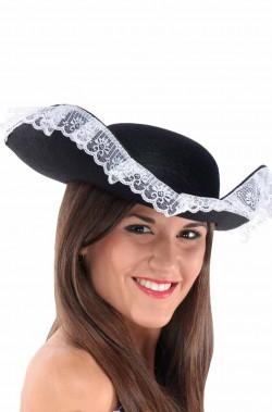 Cappello pirata tricorno nero e rosso