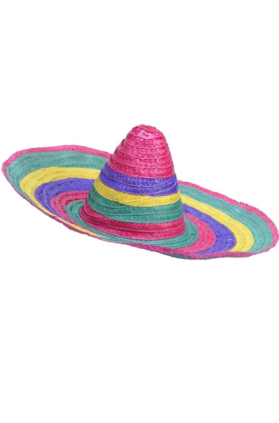 Sombrero Messicano da adulto largo circa 55cm in paglia colorata 26aae468f167