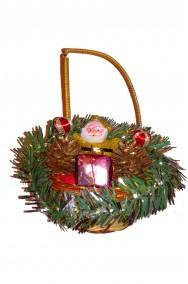 Decorazione Natalizia cestino per porta Babbo Natale
