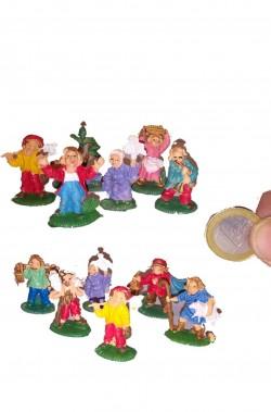 Gruppo di figurine Presepe 11 pastori e popolane cm 3