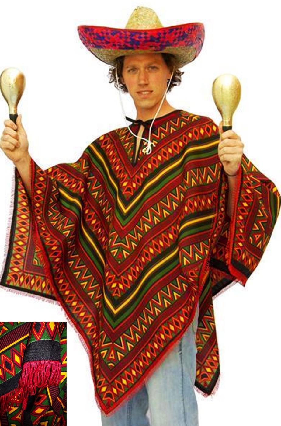 Poncho da messicano adulto per festa messicana con stampa stile maya d9eda90c5a36