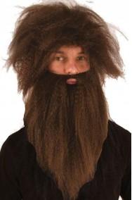 Set Parrucca e barba marrone barbaro, primitivo, Gesu' africa jungla vichingo