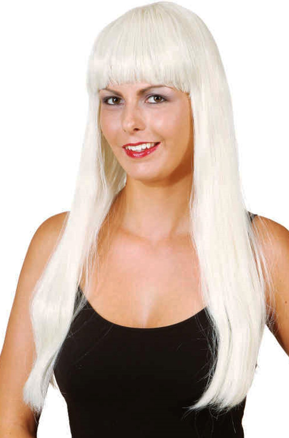 Parrucca donna bionda lunga liscia con frangia. Lunga 25cm