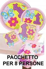 Primo Compleanno bambina Party pacchetto per 8 persone