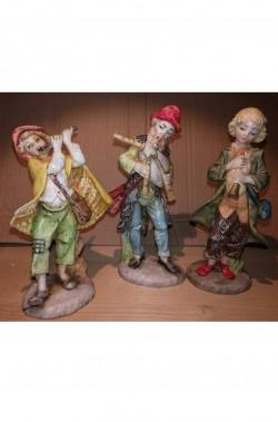 Statuine del presepe 12cm gruppo di tre zampognari