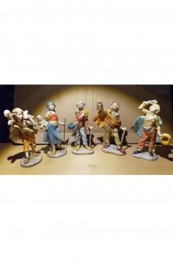 Statuine del presepe 12cm gruppo di cinque pastori