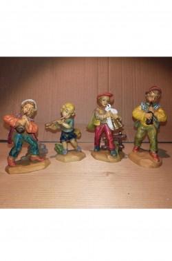 Statuine del presepe 7cm gruppo di quattro zampognari
