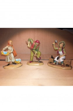 gruppo statuine del presepe lavandaia contadino ciabattino