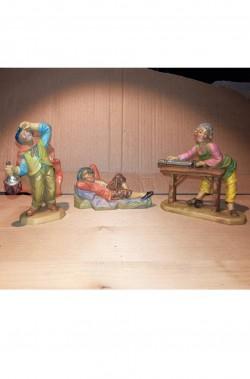 Statuine del presepe 7cm gruppo taglialegna, lavandaia, zampognaro e contadino