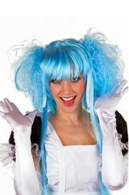 Parrucca donna lunga azzurra Manga anime Misaki