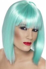 Parrucca donna corta azzurra a caschetto