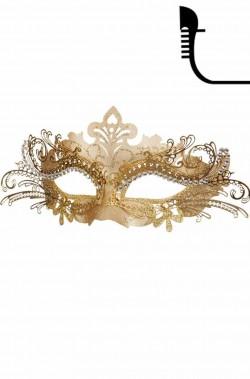 Maschera di carnevale stile veneziano in metallo color oro