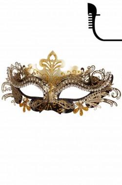 maschera in stile veneziano in metallo nera ed oro