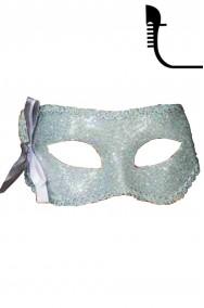 Maschera carnevale stile veneziano argentata con fiocco