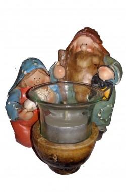 Natività in terracotta Giuseppe, Maria, Gesù portacandelina