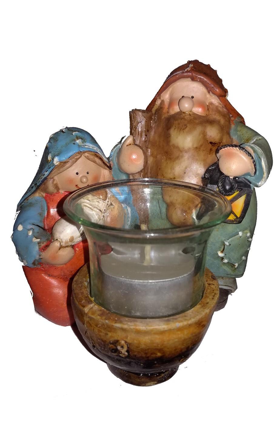 Natività in ceramica Giuseppe, Maria, Gesù portacandelina