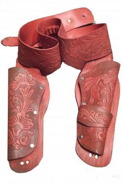 Cinturone Cowboy adulto doppia fondina color salmone