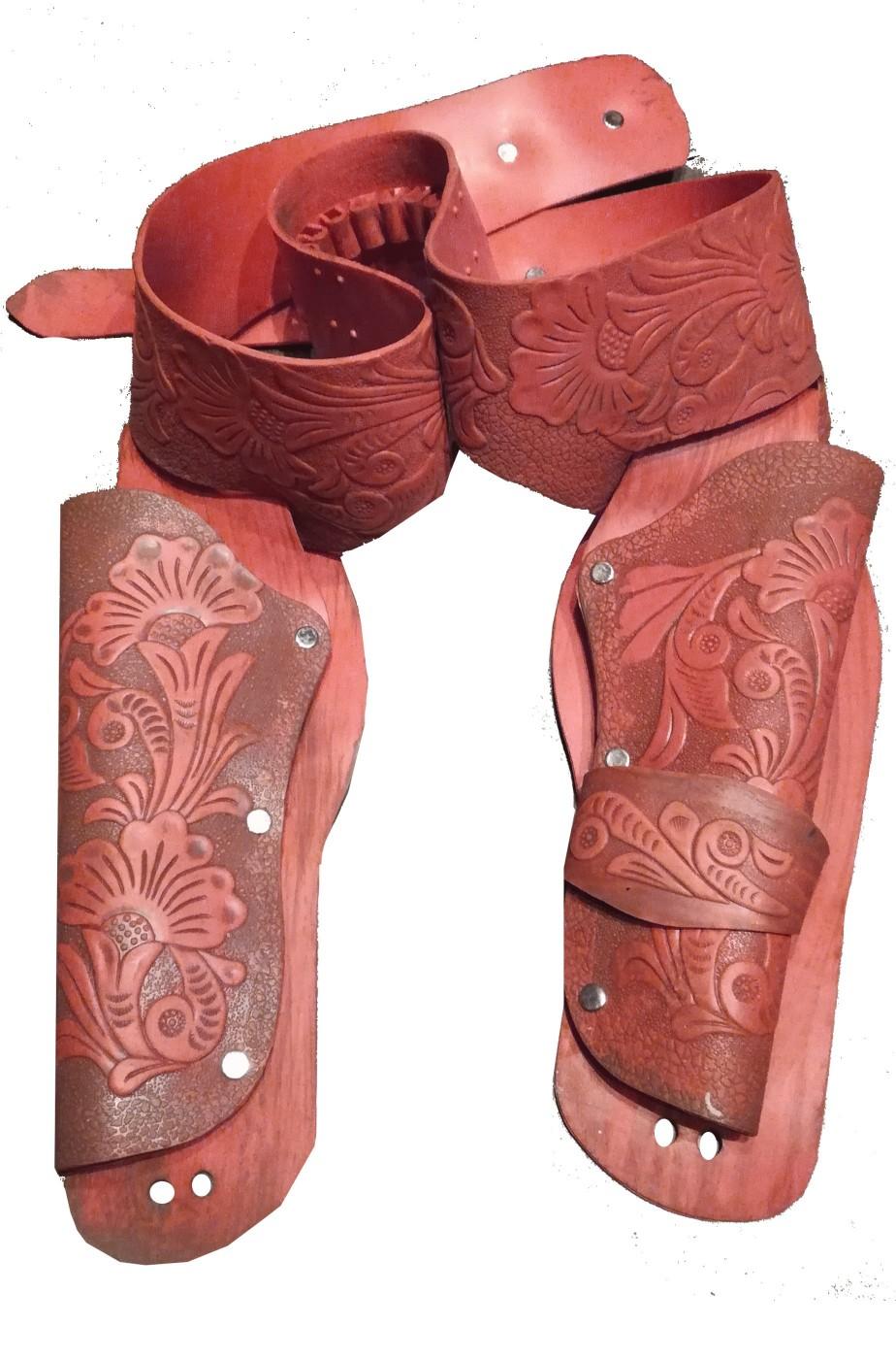 Cinturone Cowboy doppia fondina color salmone