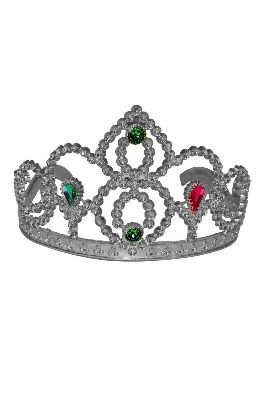 Corona in plastica a tiara con pettinini color argento con diadema