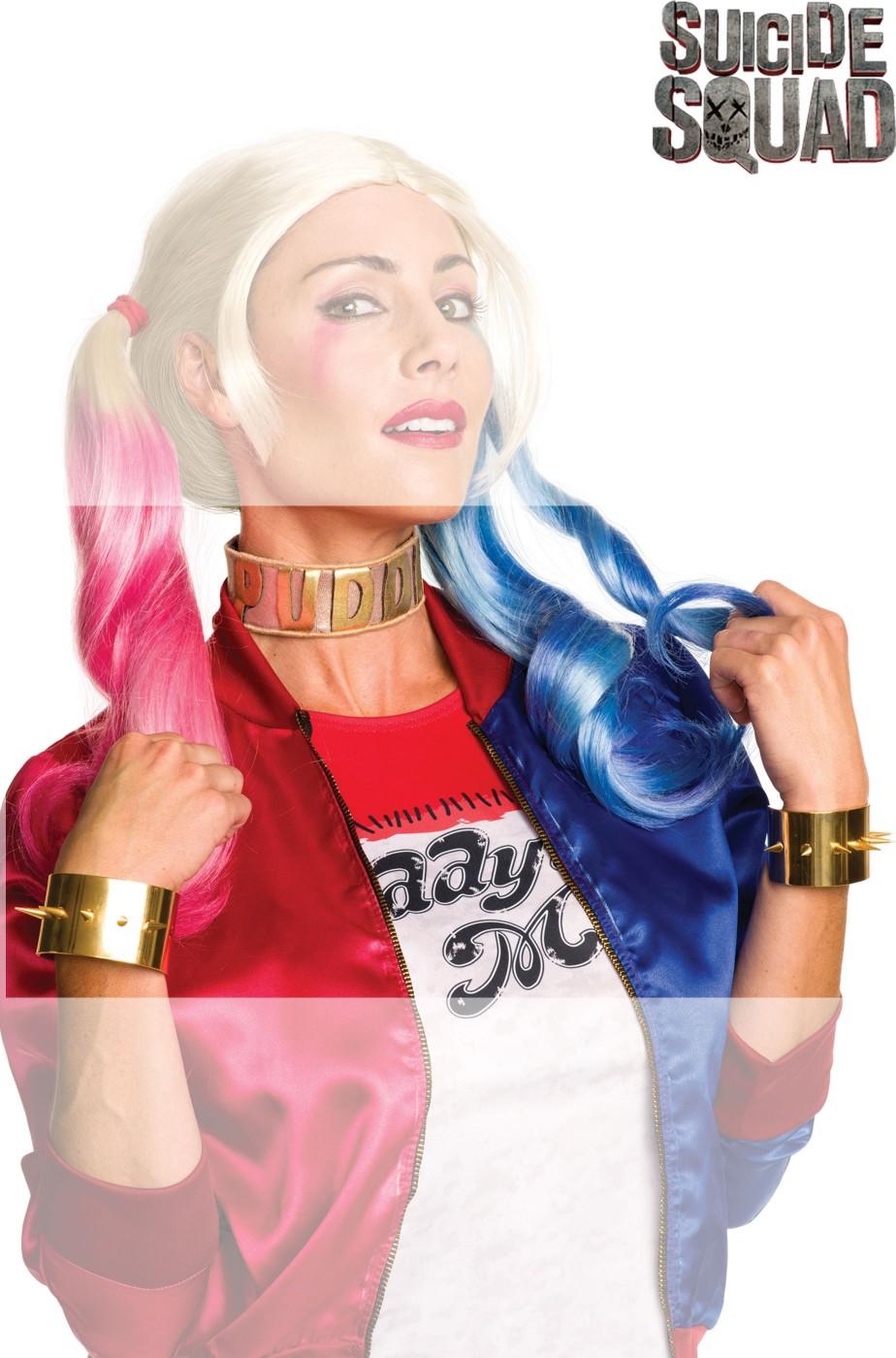 Kit gioielli collarino Puddin e bracciali di Harley Quinn Suicide Squad