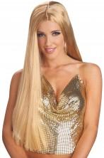 Parrucca donna bionda liscia senza frangia con treccine anni 70