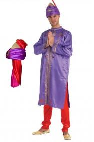 Costume Attore di Bollywood Mandarino adulto con turbante