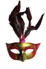 Maschera di carnevale stile veneziano giallo oro con piume