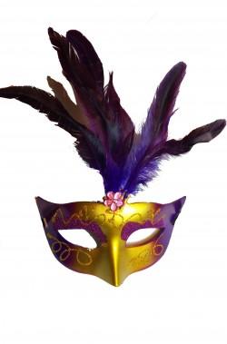 Maschera di carnevale stile veneziano rossa ed oro con piume