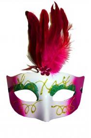 Maschera di carnevale stile veneziano viola ed oro con piume