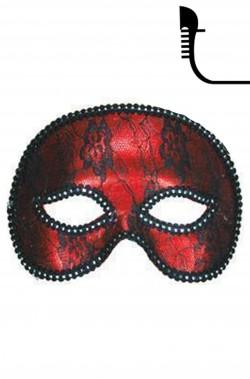 maschera carnevale stile veneziano mezzo viso rossa