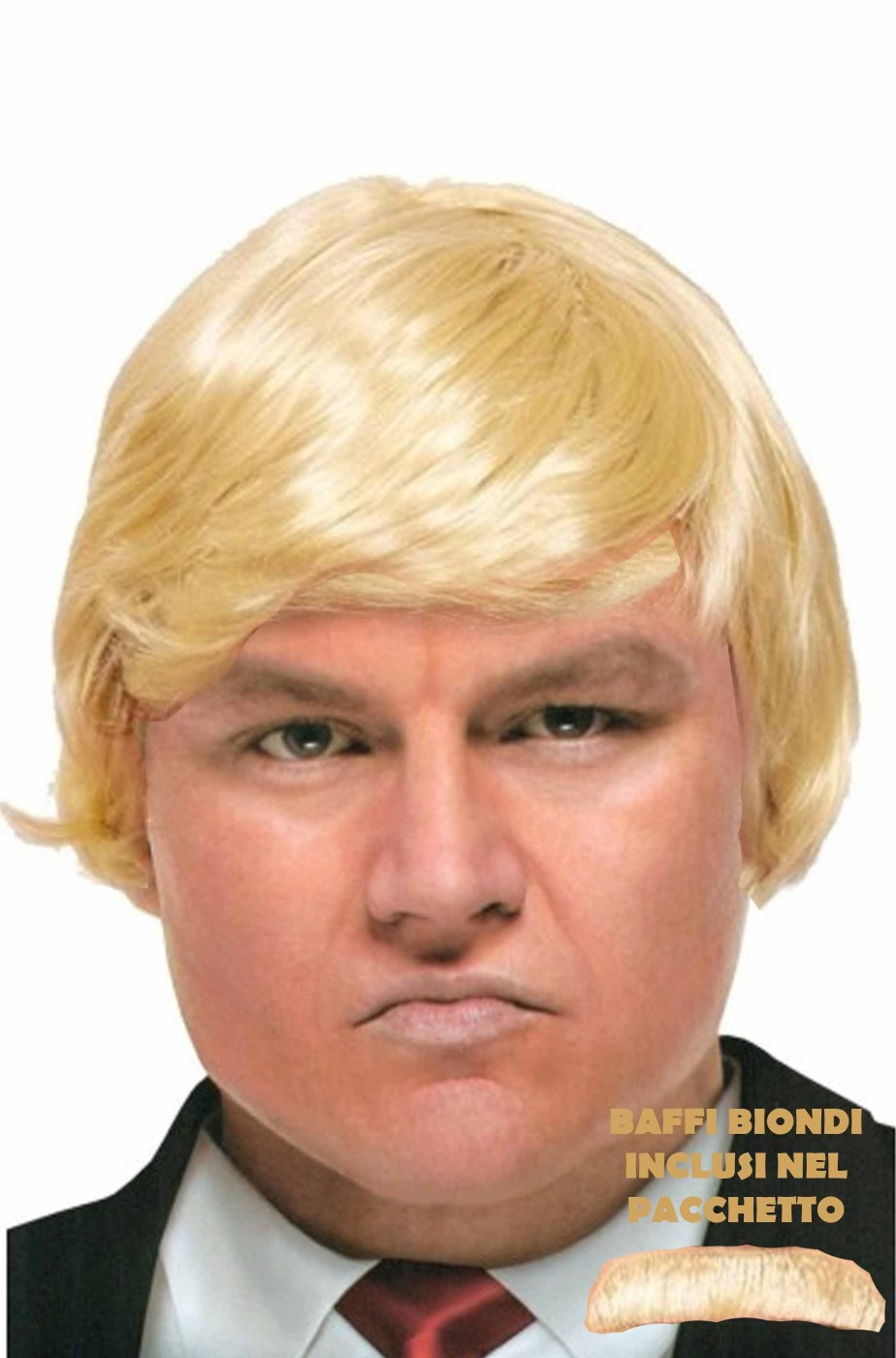Parrucca e baffo uomo corta bionda Trump