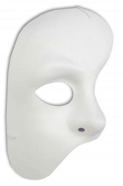 Maschera Fantasma Dell'Opera Phantom bianca a mezzo viso verticale in stoffa