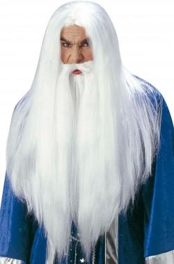 Barba, parrucca, baffi Gandalf il bianco dal film il signore degli Anelli per Merlino e Panoramix