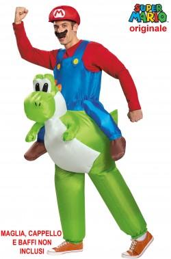 Costume di Yoshi gonfiabile con salopette di Super Mario